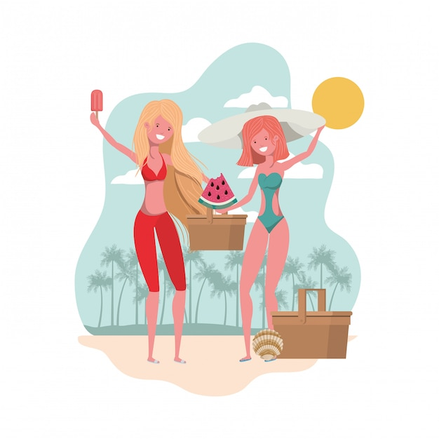 Scene of women with portion of watermelon in hand Free Vector
