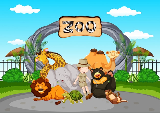 Scene at the zoo with zookeeper and animals Premium Vector