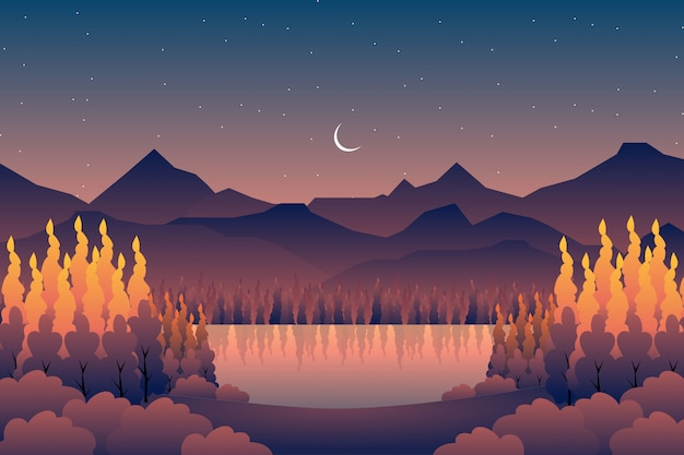 Scenery autumn forest with mountain background Premium Vector
