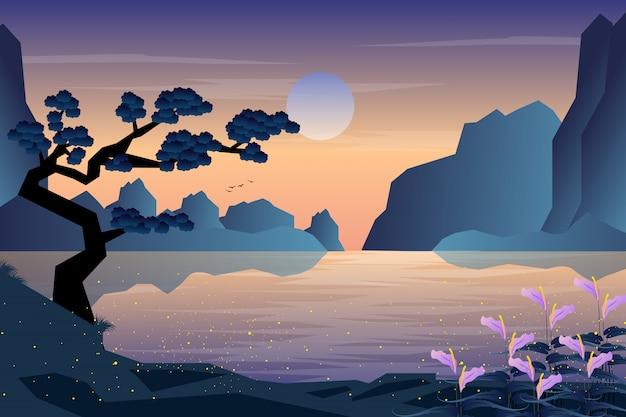 정원과 산 배경으로 풍경 저녁 일몰 프리미엄 벡터
