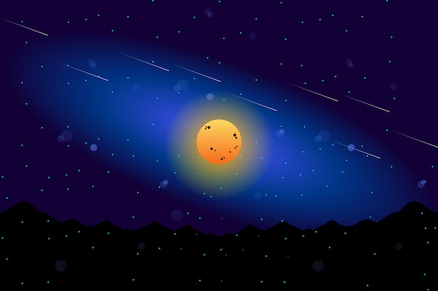 Scenery full moon with starry night sky illustration Vector