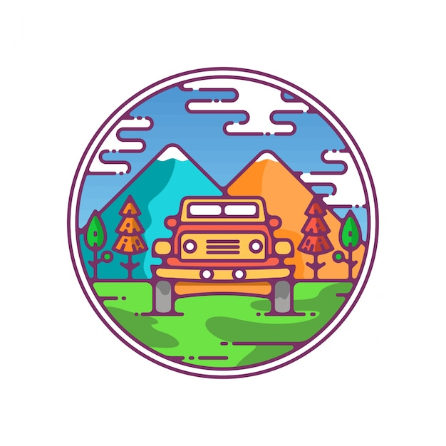 Scenery icon jeep in mountains Premium Vector