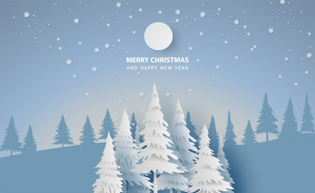Scenery merry christmas and new year with forest winter Premium Vector