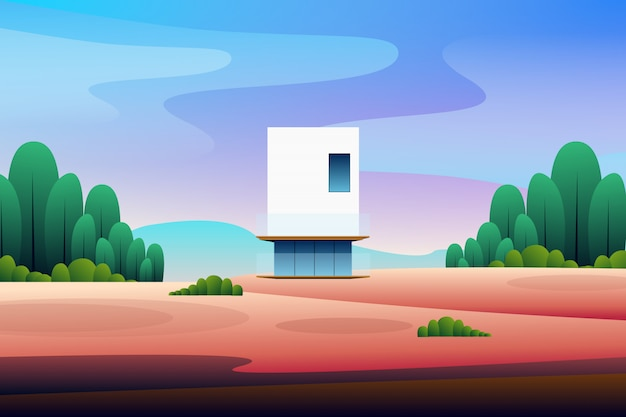 Scenery modern house in the forest illustration Premium Vector