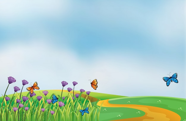 A scenery at the top of the hill Premium Vector