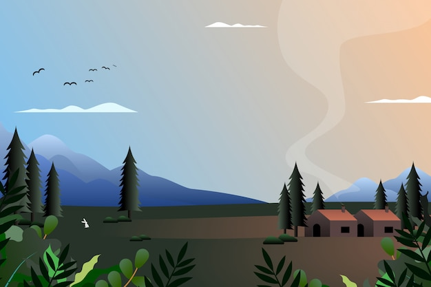 Scenery of village with mountain and sky Premium Vector