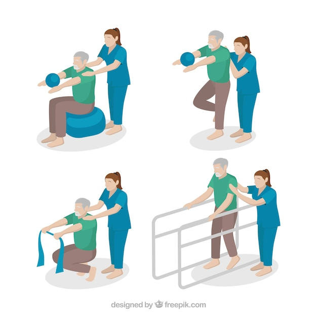 Scenes of physiotherapist with a patient Free Vector