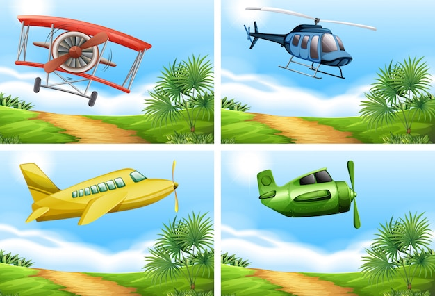Scenes with airplanes in the sky Free Vector