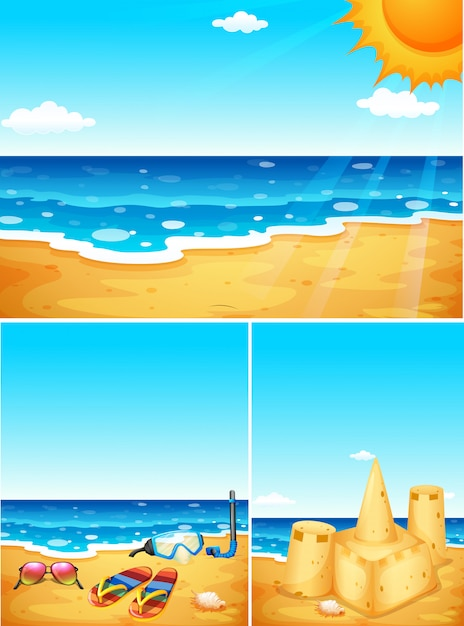 Scenes with beach and ocean Free Vector