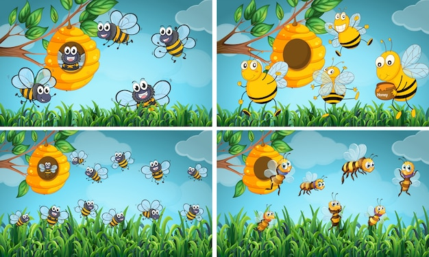 Scenes with bees and beehive Free Vector