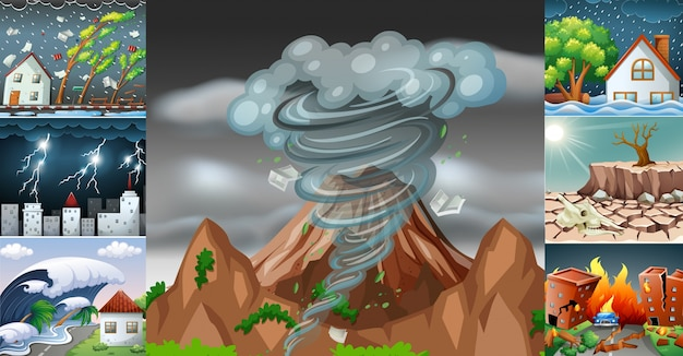 Scenes with different disasters Premium Vector