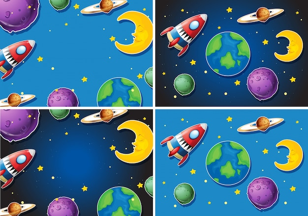Scenes with rocket and planets Free Vector