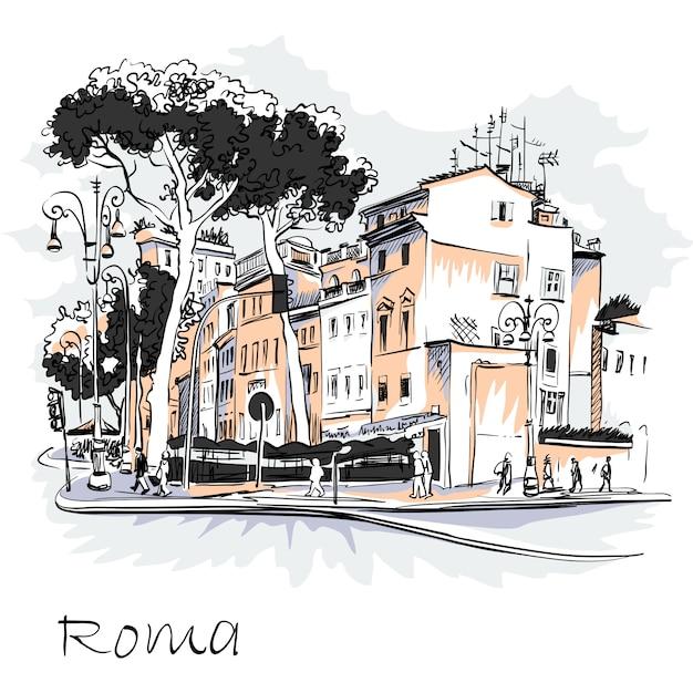 Живописный вид на город рим, италия Premium векторы