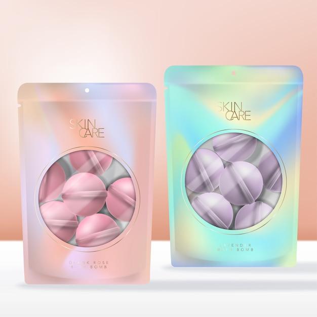 虹色の抽象プリントジップロックポーチ、小袋、または透明な丸い窓のあるパケットパッケージの香り付きバス爆弾。 Premiumベクター