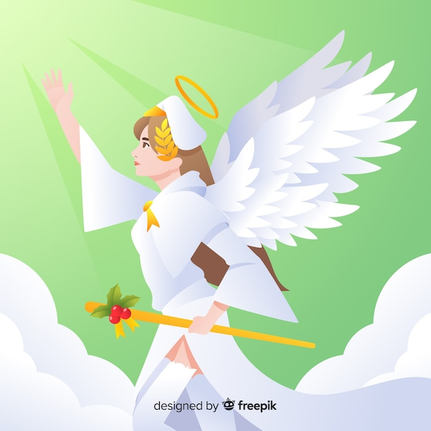 Scepter christmas angel background Free Vector