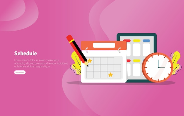 Schedule educational illustration banner Premium Vector