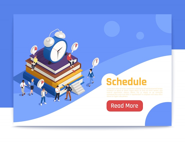 Schedule isometric landing page with big alarm clock icon and people planning routine work Free Vector