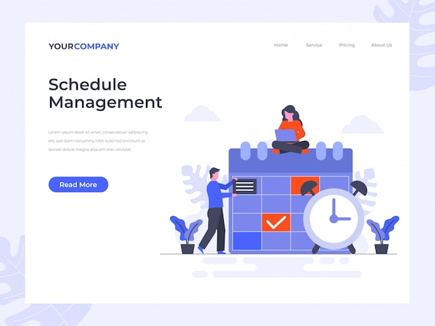 Schedule management landing page Premium Vector