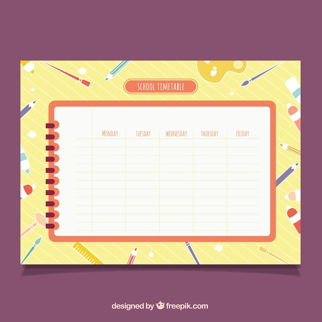 Schedule on spiral notebook with fun background