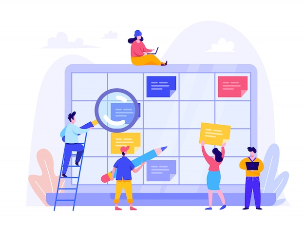 Schedule planning concept for landing page, ui, web, homepage Premium Vector