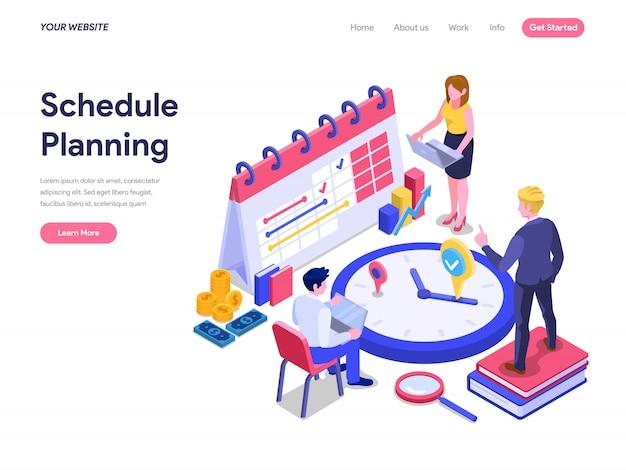 Schedule planning isometric concept for landing page, ui, website Premium Vector