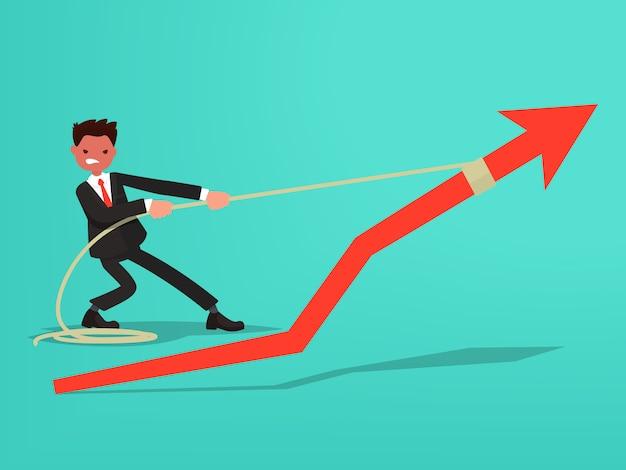 Schedule of sales. businessman makes an effort to grow sales. Premium Vector