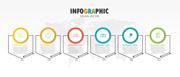 Schematic for education and business used in teaching as well with six options Premium Vector
