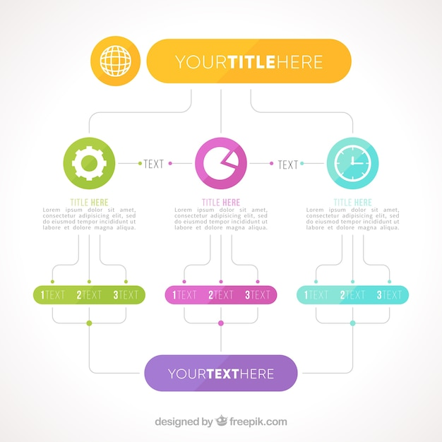 Schematic with infographic elements Free Vector