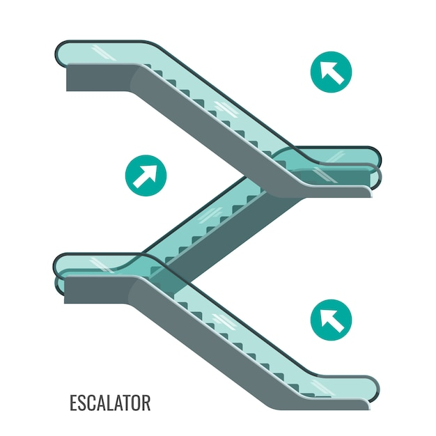 Scheme of escalators moving, staircases with arrows showing way of movement, side view of elevating mechanism. Premium Vector