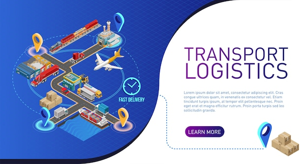 Scheme of transport logistics for website Premium Vector