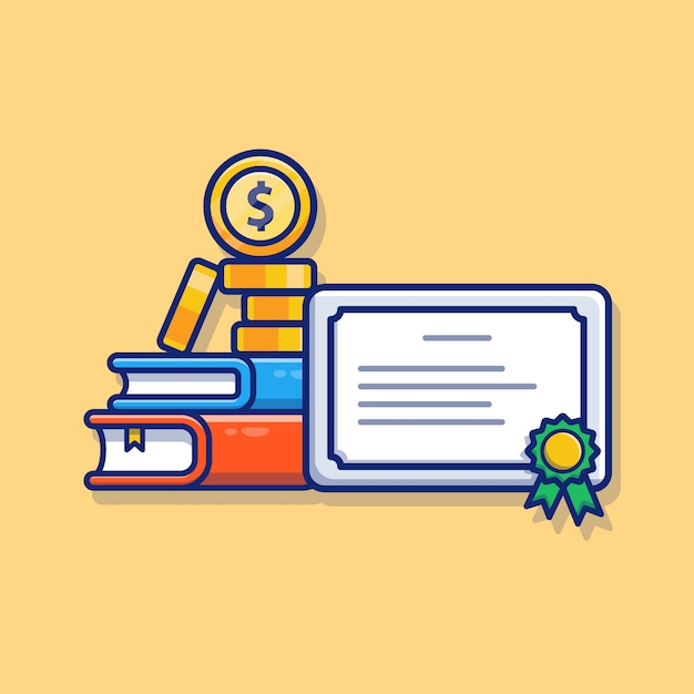 Scholarship illustration. certificate, book, and money ...