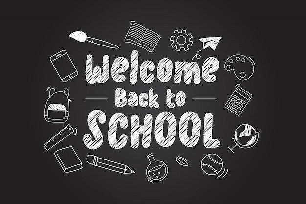 Добро пожаловать обратно в школу, надписи с иконами scholl Premium векторы