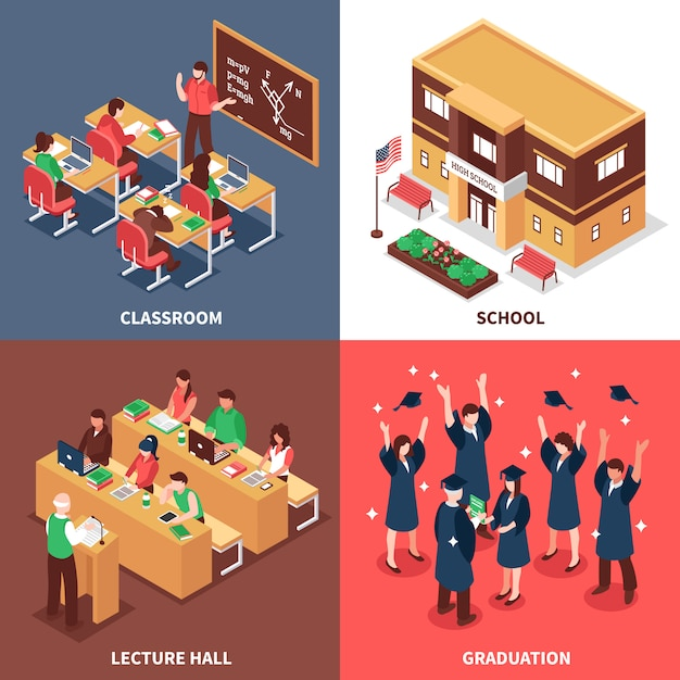 School 4 isometric icons concept Free Vector