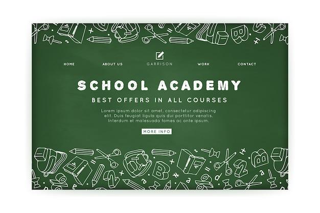 Шаблон целевой страницы школьной академии Бесплатные векторы