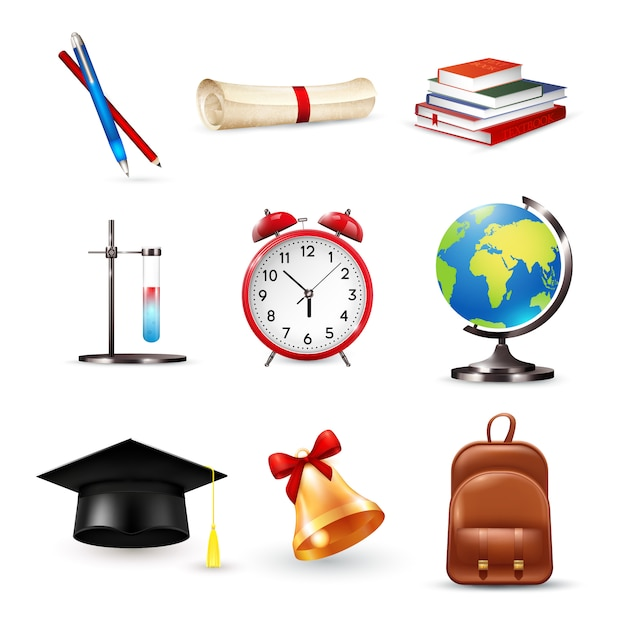 School accessories set Free Vector