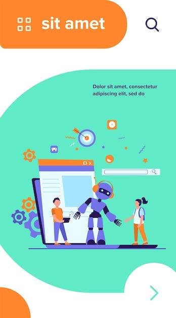 Школьная деятельность и концепция класса робототехники. мальчик работает робот с дистанционным управлением Бесплатные векторы