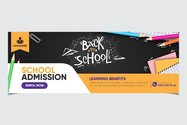 School admission banner design Free Vector