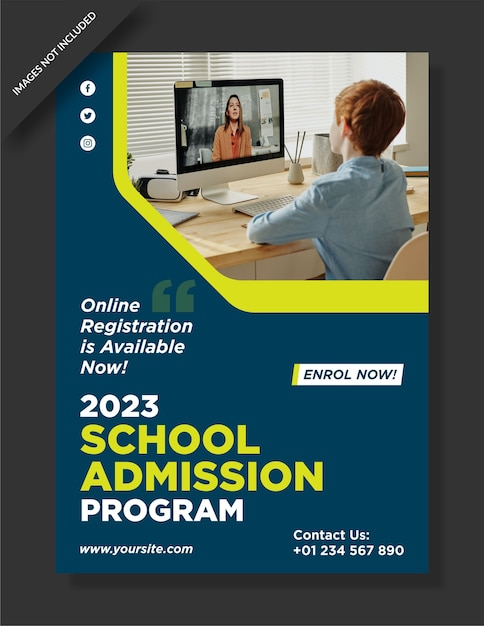School admission poster design Premium Vector