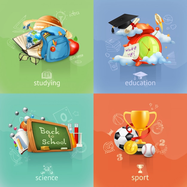 Школа и образование, векторный клипарт, четыре концепции Premium векторы