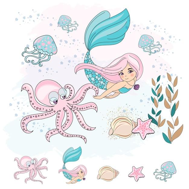 School autumn sea underwater vector illustration set mermaid octopus Premium Vector