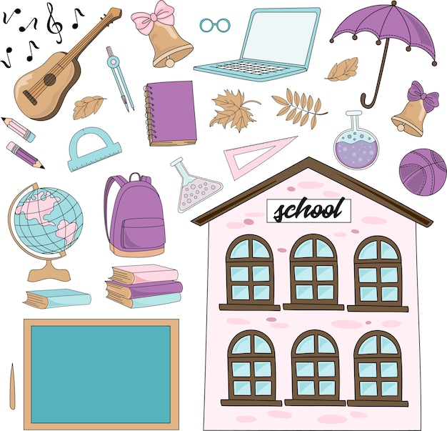 School autumn vector illustration set vivat school Premium Vector