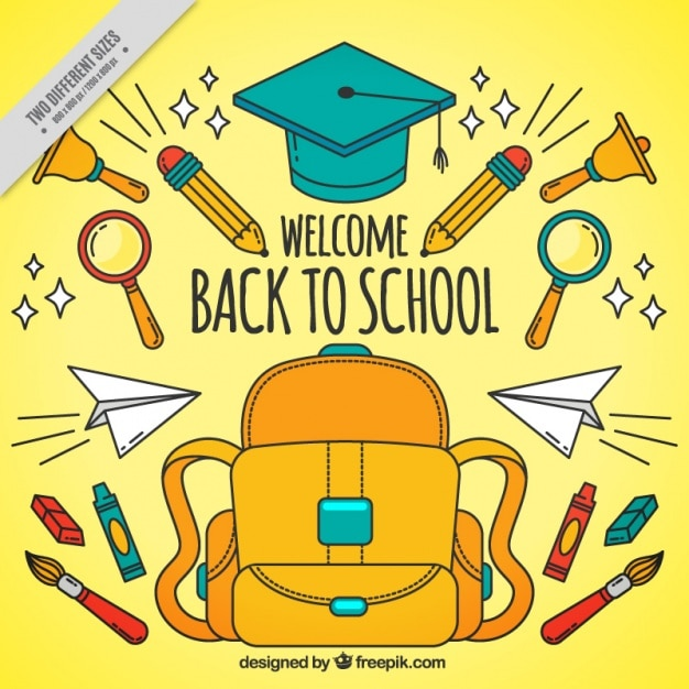 School background of hand drawn material Free Vector