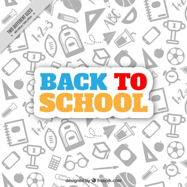School background with drawings Free Vector