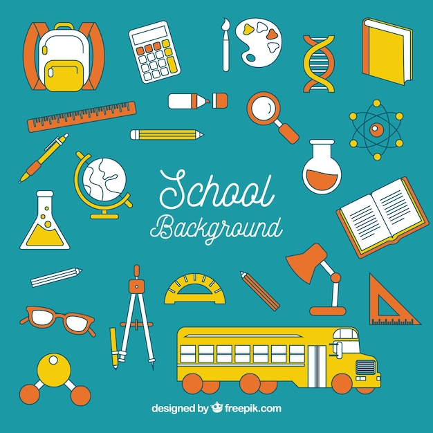 School background with elements Free Vector