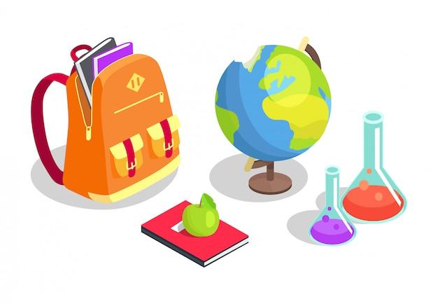 School backpack full of books, chemical flasks Premium Vector