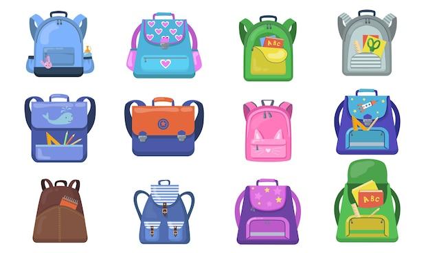 学校のバックパックセット。小学生向けのカラフルなバッグ、学用品が入った子供向けのオープンリュックサック。学校、教育、文房具、子供の頃の概念に戻るためのベクトルイラスト 無料ベクター
