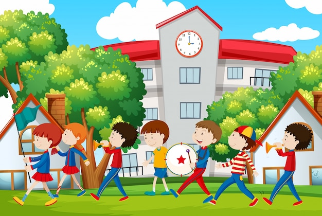 School band marching in front of school Premium Vector
