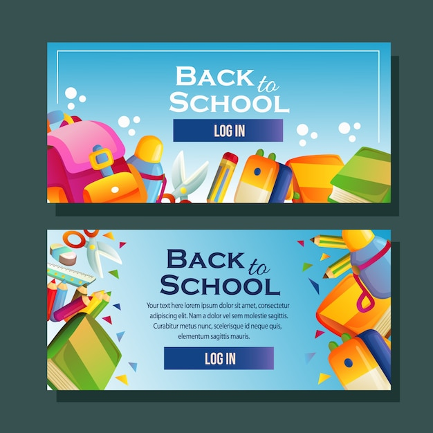 School banner template horizontal school supplies Premium Vector