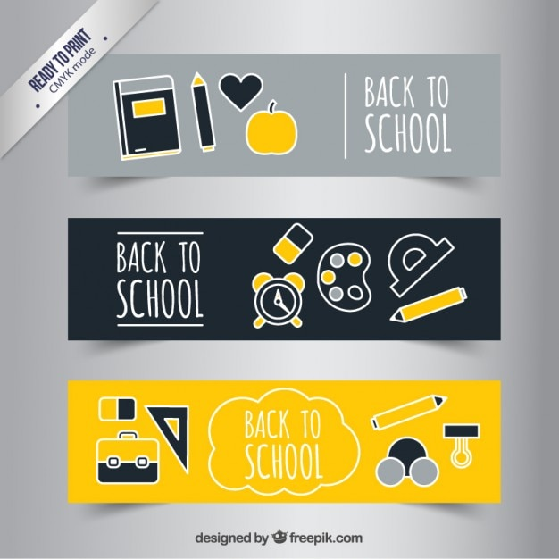 School banners in yellow and grey tones Premium Vector