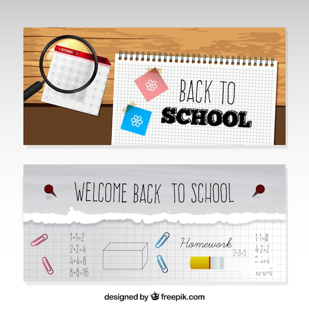 School banners with calendar and notebook paper